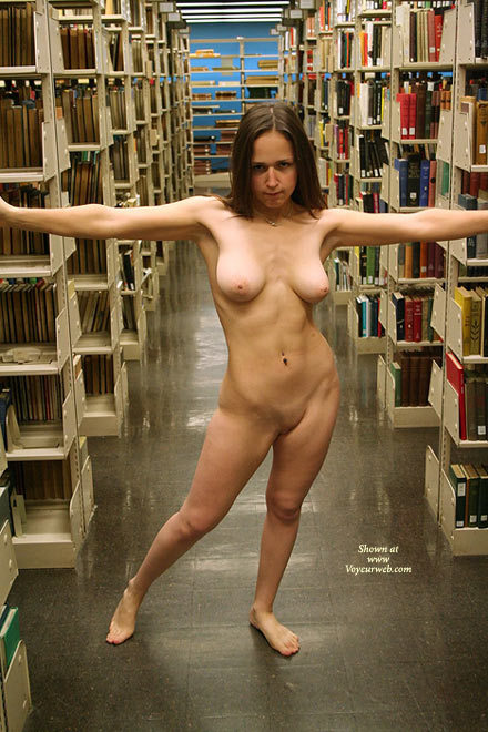Library girl topless